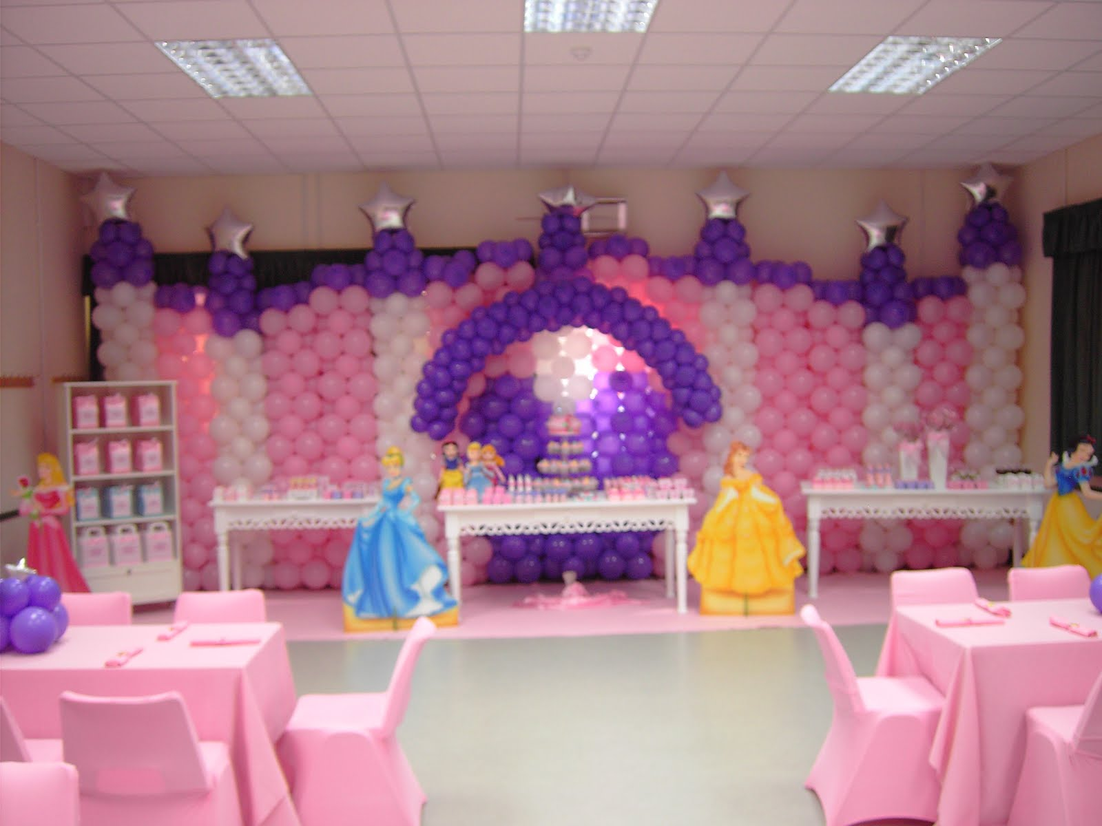 Birthday party decorations in hall image inspiration of for Baby shower party hall decoration ideas